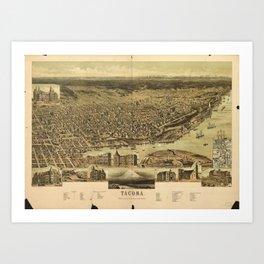 Aerial View of Tacoma, Washington (1890) Art Print