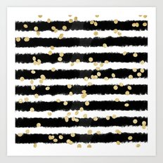 Modern black watercolor stripes chic gold confetti Art Print