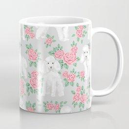 Toy Poodle floral bouquet pet portrait custom dog breed art pattern by pet friendly Coffee Mug