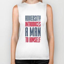 Lab No. 4 Adversity introduces a man to himself albert einstein motivational quote poster Biker Tank
