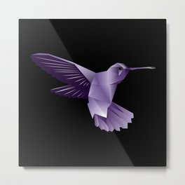 Abstract Purple Hummingbird Metal Print