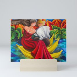 Sailing with bananas. Cuban art by Miguez Mini Art Print