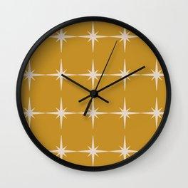 Starbursting Gold Minimalist Midcentury Pattern Wall Clock