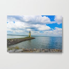 The East Wharf Lighthouse at Lake Hefner, Oklahoma City. Metal Print