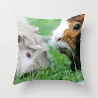 pigs Throw Pillows featuring guinea pigs by Christine baessler