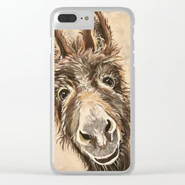Cute Donkey Art, 'Raymond' donkey painting Clear iPhone Case