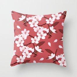 Sakura on red background Throw Pillow