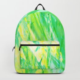 Grassy Abstract in Yellow Green Aqua White by Menega Sabidussi Backpack