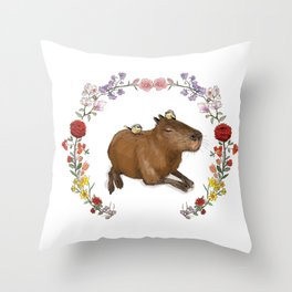 Capybara in Flower Wreath Throw Pillow