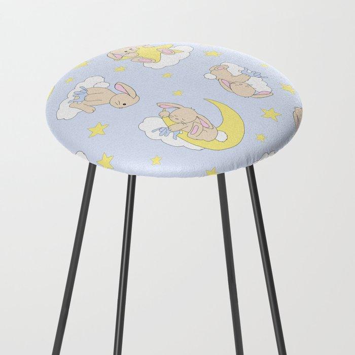 Bunny Moon Star Clouds Nursery Neutral Counter Stool