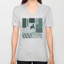 Holiday Green Quilt Design Unisex V-Neck