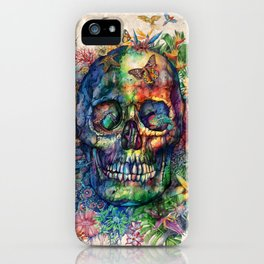 floral tropical skull iPhone Case