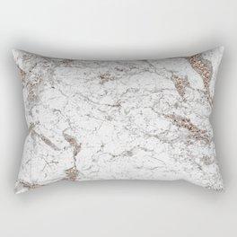 White frost - rose gold marble Rectangular Pillow