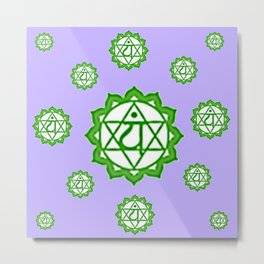 "This design is all about the ASTRAL PURPLE GREEN SANSKRIT CHAKRAS PSYCHIC WHEEL "" LOVE"" decor, furni Metal Print"