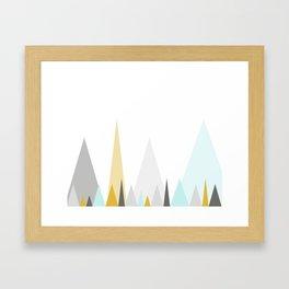 Geometric triangles in mustard and mint Framed Art Print