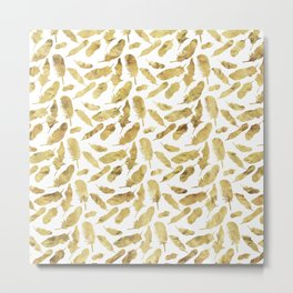 Gold Feather Metal Print