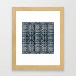 Blue and White Mosaic Kolam Framed Art Print