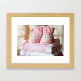It's a Girl! / Baby Booties & Clothes Framed Art Print