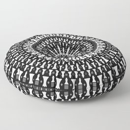 Chess Pieces Mandala - Grayscale Floor Pillow