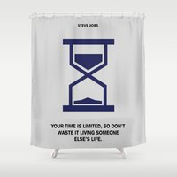 steve jobs Shower Curtains featuring Lab No. 4 - Time Is Limited Steve Jobs Famous Life Inspiring Motivational Quotes Poster by Lab No. 4