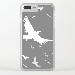 WHITE BIRDS IN FLIGHT GREY ABSTRACT MODERN ART Clear iPhone Case