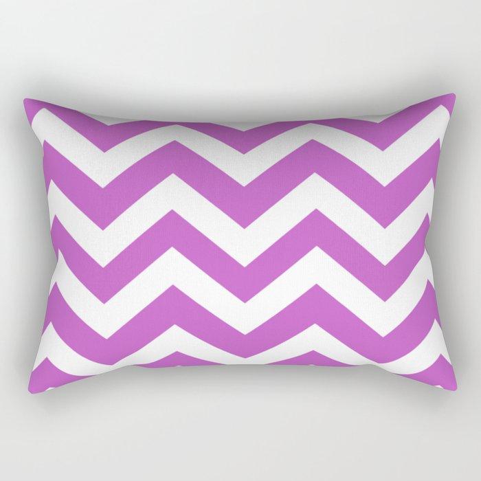 Fuchsia (Crayola) - violet color - Zigzag Chevron Pattern Rectangular Pillow