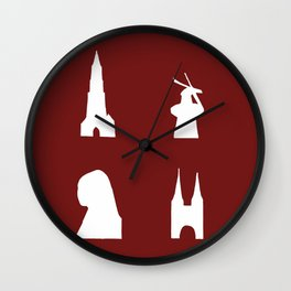Delft silhouette on red Wall Clock