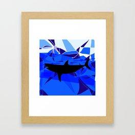 Shark art Geometric art Blue sea ocean art Triangles art Framed Art Print
