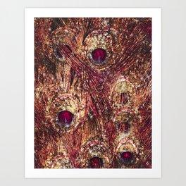 Golden Ruby Peacock Art Print