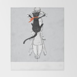 Cat Racer Motorcycle Art Print Throw Blanket