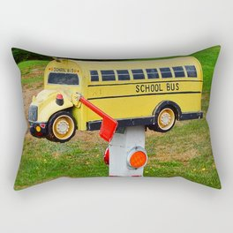School Bus Mailbox Rectangular Pillow