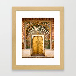 Lotus gate door in pink city at City Palace of Jaipur, India Framed Art Print