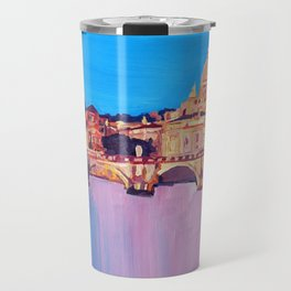 Rome Scene with Motorcycle and view of Vatican Travel Mug