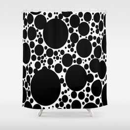 Black Bubbles Pattern Kusama Shower Curtain