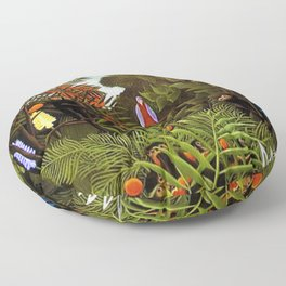 Exotic Jungle Landscape with Monkeys and Birds by Henri Rousseau Floor Pillow
