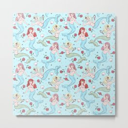 Mermaids and Roses on Aqua Metal Print