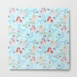 Mermaids and Roses on Aqua Metal Print