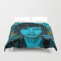 cassia beck Duvet Covers featuring Beck Hell Yes by Matt Crave