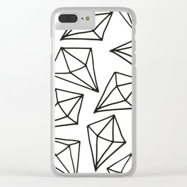 black white diamond pattern Clear iPhone Case
