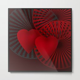 Love. The loving hearts .Black background . Metal Print