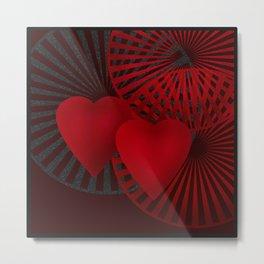 Love. The loving hearts .Black background . Metal Print