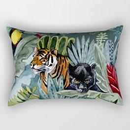 Jungle with tiger and tucan Rectangular Pillow