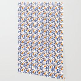 Gorgeous Blue and Orange Feminist Killjoy Print Wallpaper