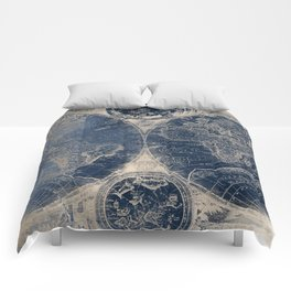 Antique World Map Gold Navy Blue Library Comforters