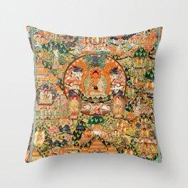 Life Of Buddha Thangka Mandarin Forest Throw Pillow