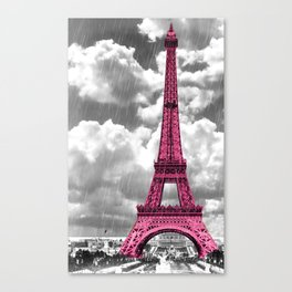 Pink Paris Rain Canvas Print