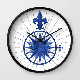 Nautical French Blue Compass Rose Wall Clock