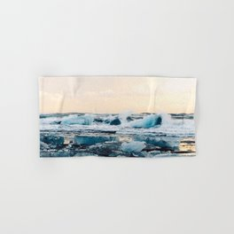 Waves Crashing on the Ice of Diamond Beach, Iceland at Sunset Hand & Bath Towel