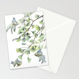 Mint Green Ginkgo Leaves and Green Goldfish Watercolor Design Stationery Cards