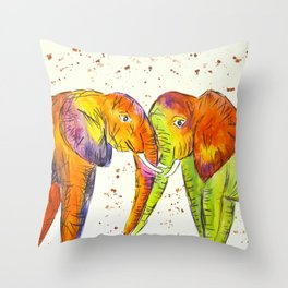 Colourful Elephants Kissing Throw Pillow